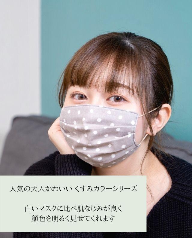くすみグレー 水玉柄マスク